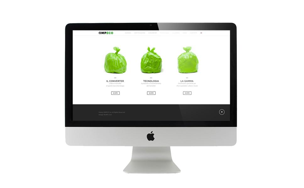 Sezione con menu ad immagini del sito di Ompeco realizzato da BwithC.