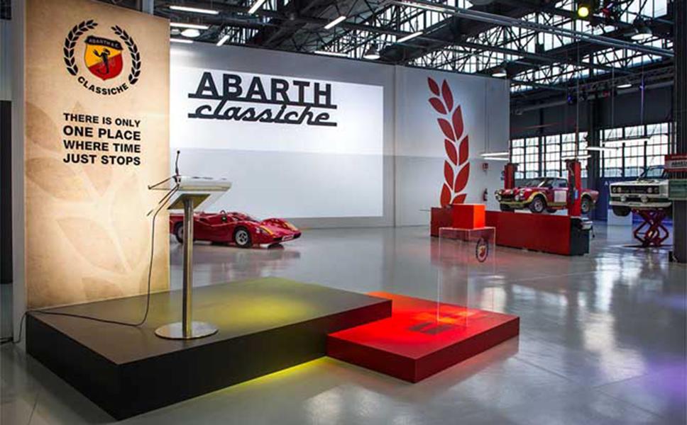 Presentazione dei volumi Abarth's Tale e Abarth the scorpion wins presso le officine Abarth Classiche. Editorial Design BwithC