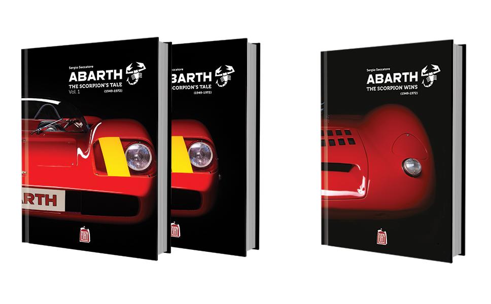 Immagine delle copertine dei volumi Abarth's Tale e Abarth the scorpion wins. Editorial Design BwithC